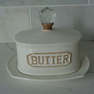 Farmhouse Shabby Crystal Top THL Butter Dish new